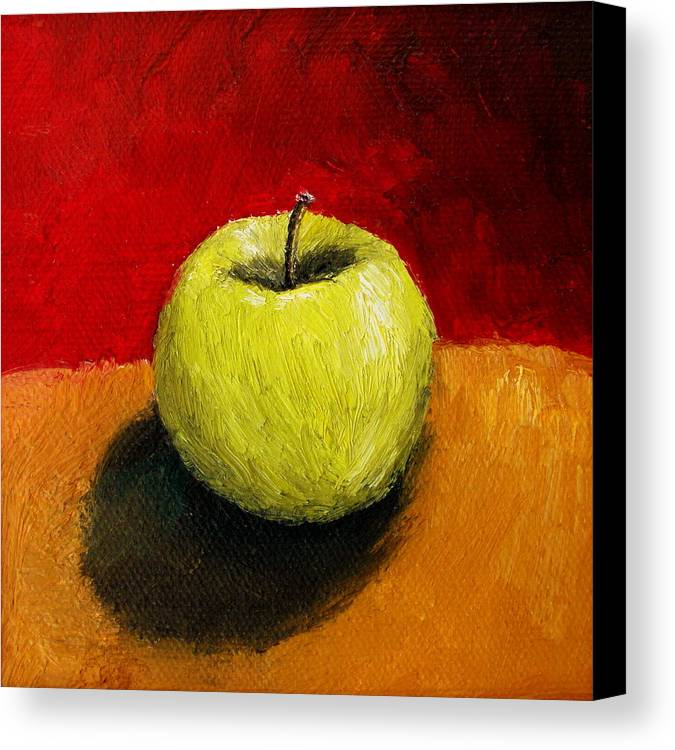Apple Canvas Print featuring the painting Green Apple With Red And Gold by Michelle Calkins