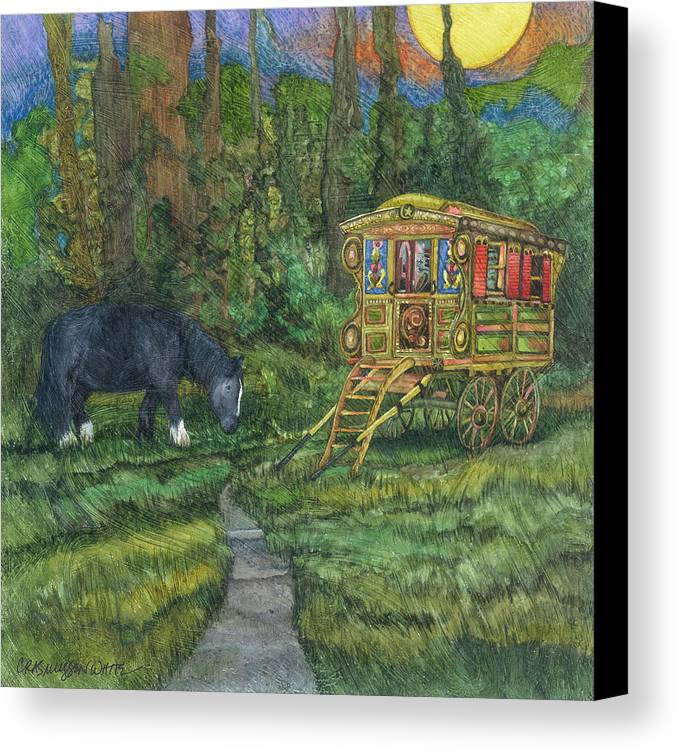 Gypsy Wagon Art Canvas Print featuring the painting Gwendolyn's Wagon by Casey Rasmussen White
