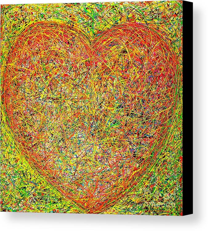 Mixed Media On Canvass Canvas Print featuring the painting Heart by Teo Santa