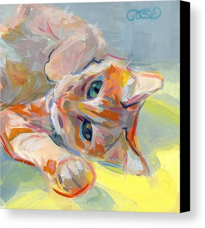 Tabby Cat Canvas Print featuring the painting Hello Kitty by Kimberly Santini