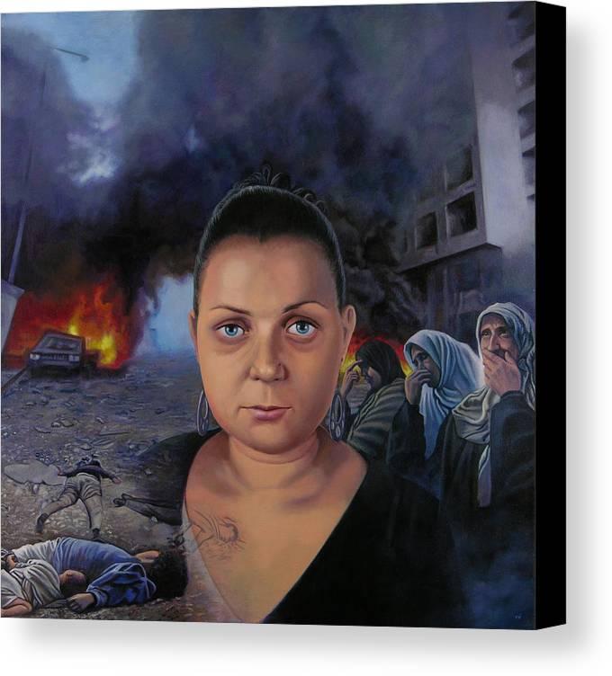 Layal Nagib Canvas Print featuring the painting Homage To Layal Nagib by Miguel Tio