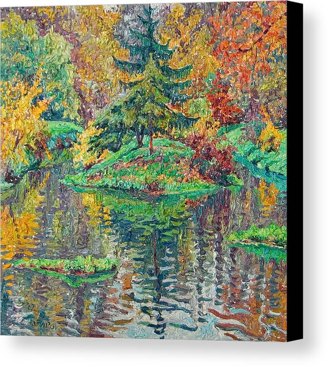 Landscape Canvas Print featuring the painting Island On The Park Pond by Vitali Komarov