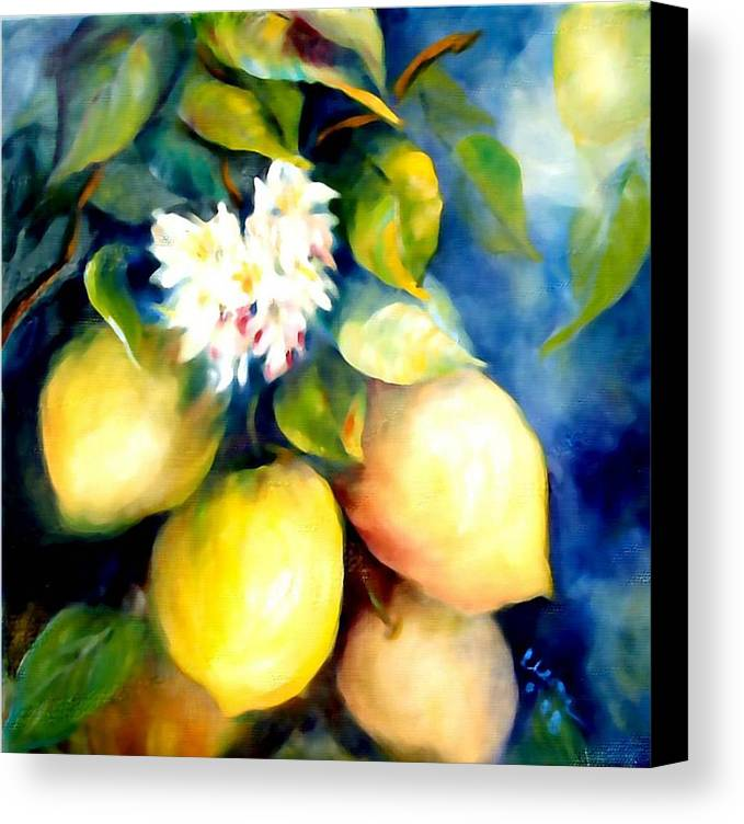Lemons Canvas Print featuring the painting Kissed By The Sun by Elaine Bailey