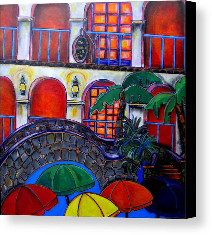 San Antonio Canvas Print featuring the painting La Mansion Del Rio by Patti Schermerhorn