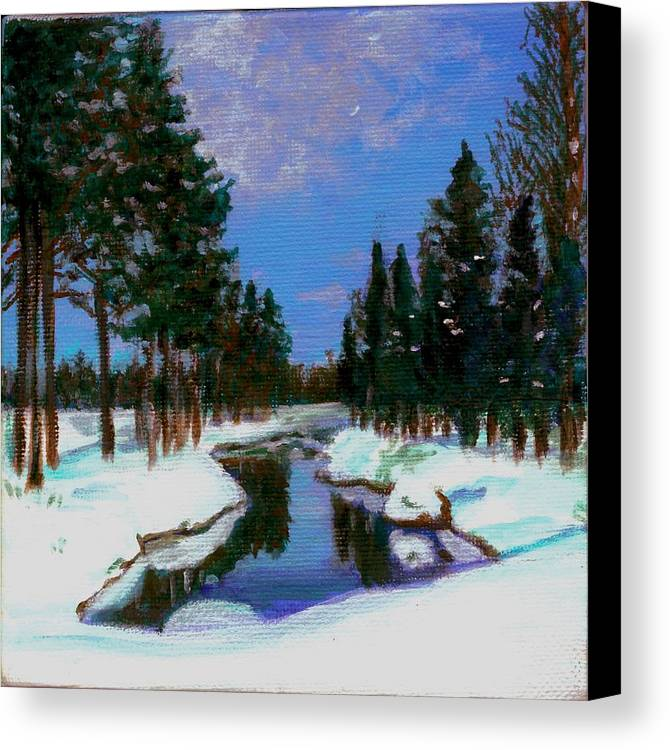 Snow Canvas Print featuring the painting Lapland by Marina Owens