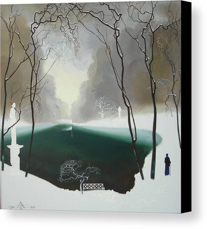 Landscape Canvas Print featuring the painting Last Winter by Andrej Vystropov