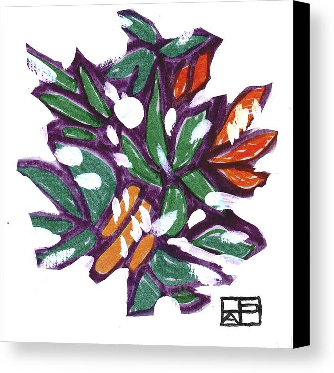 Still Life Design Canvas Print featuring the painting Leaves In Snow by Helen Pisarek