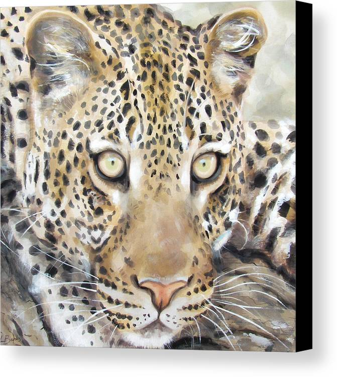 Wildlife Canvas Print featuring the painting Leopard Stare by Leigh Banks