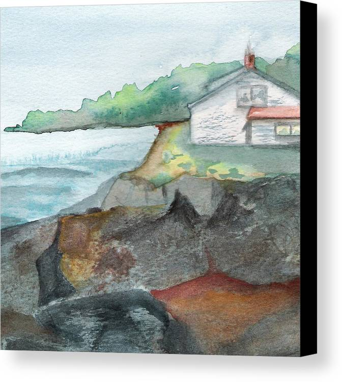 Seascape Canvas Print featuring the painting Little Cottage by Marsha Woods