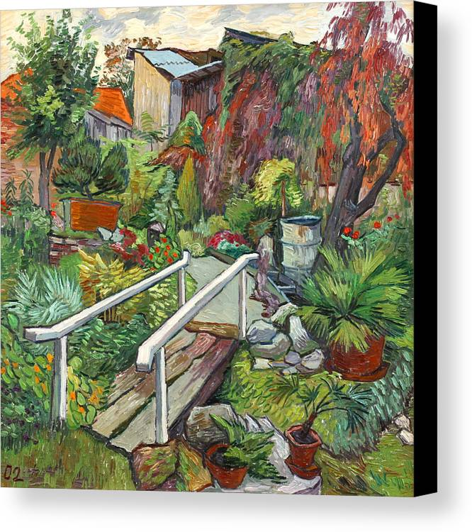Landscape Canvas Print featuring the painting Lovely Flower Garden by Vitali Komarov