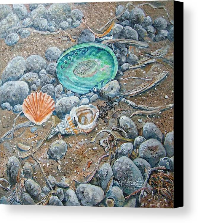 Shells Canvas Print featuring the painting Lowtide Treasures by Val Stokes