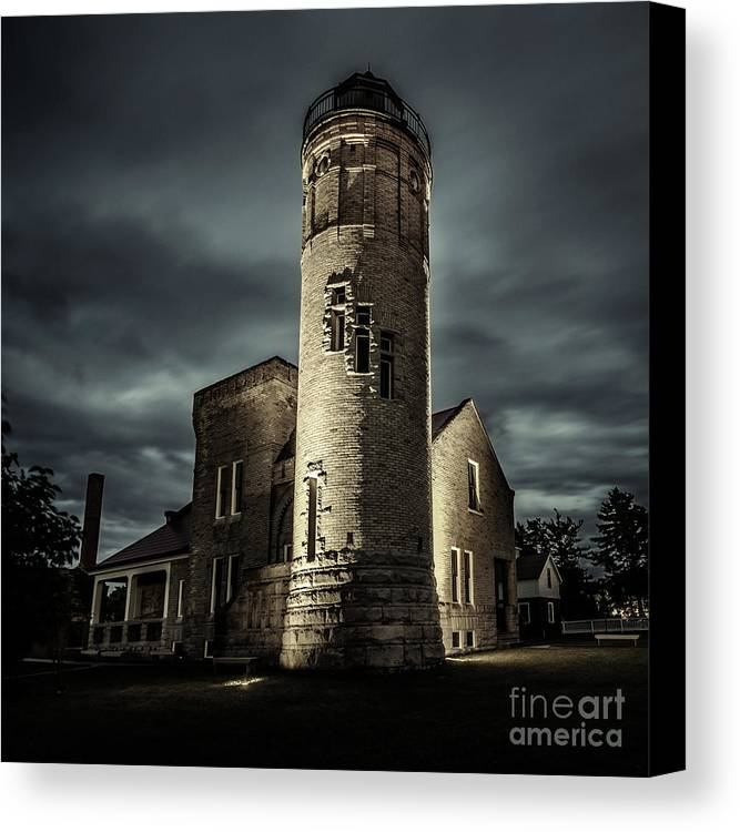 Lighthouse Canvas Print featuring the photograph Mackinaw Point Lighthouse by Ehrlich Gallery
