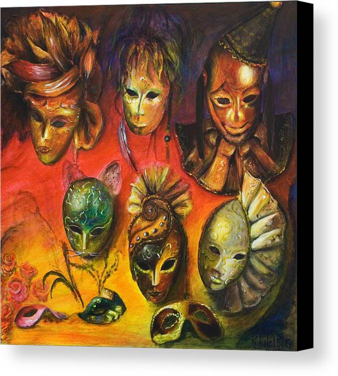 Masks Canvas Print featuring the painting Making Faces IIi by Nik Helbig