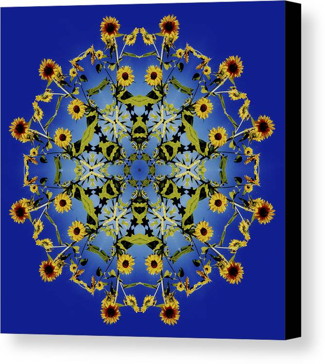 Mandala Canvas Print featuring the digital art Mandala Sunflower by Nancy Griswold