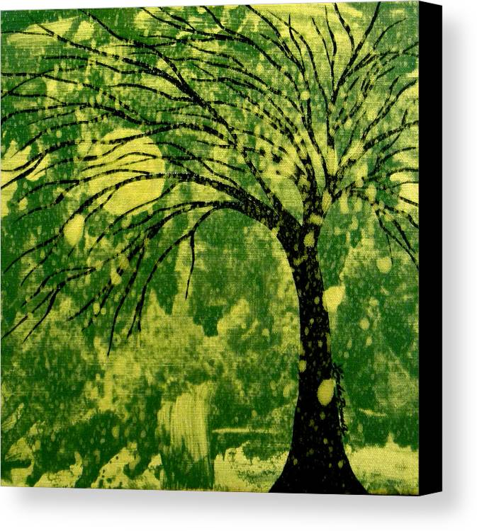 Tree Canvas Print featuring the painting Metallic Moon by Linda Powell