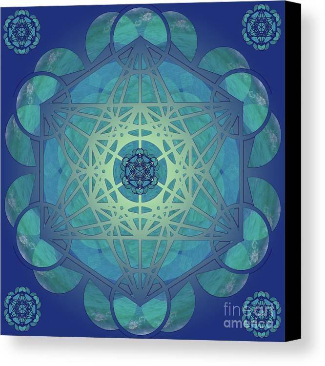 Metatron Canvas Print featuring the mixed media Metatrons Cube by Vanda Sucheston Hughes