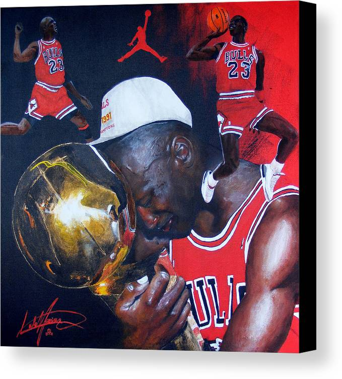 Portrait Canvas Print featuring the painting Michael Jordan by Luke Morrison