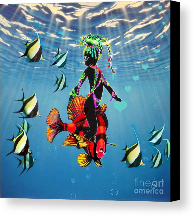 Miss Fifi Canvas Print featuring the digital art Miss Fifi New Friends In The Ocean by Silvia Duran