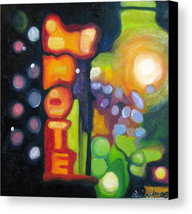 N Canvas Print featuring the painting Motel Lights by Patricia Arroyo