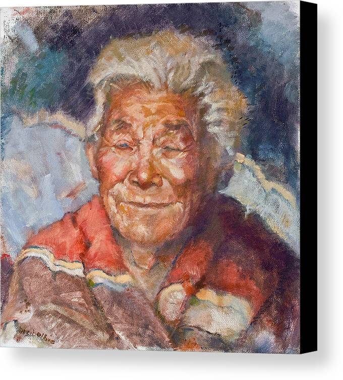 Elder Canvas Print featuring the painting Navaho Wisdom by Ellen Dreibelbis