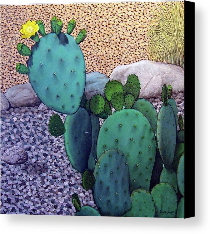 Landscape Canvas Print featuring the painting Opuntia by Snake Jagger