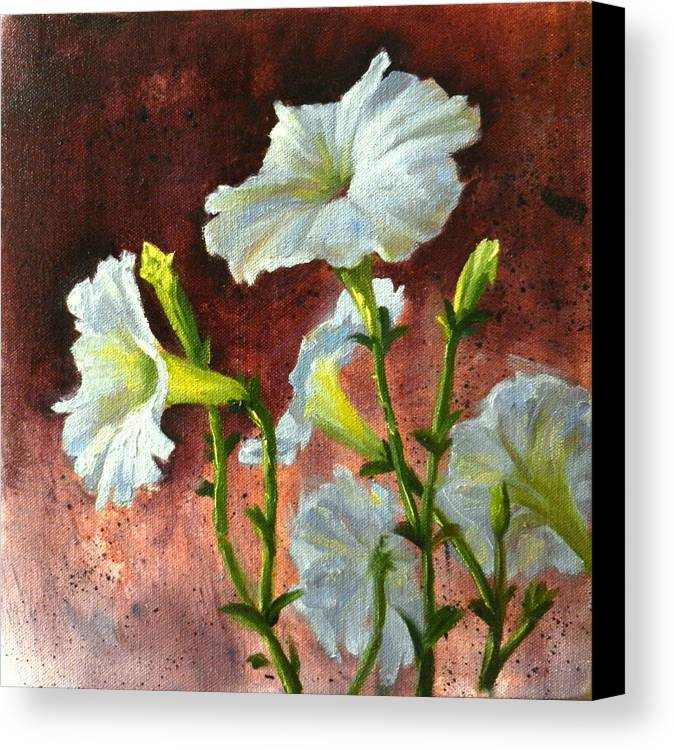 Flower Canvas Print featuring the painting Petunias Delight by Ningning Li
