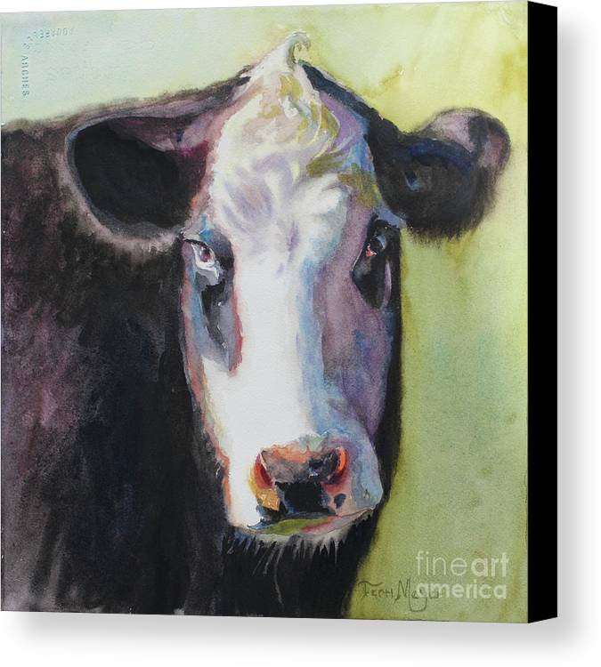 Cow Portrait Canvas Print featuring the painting Portrait Of A Cow by Terri Meyer