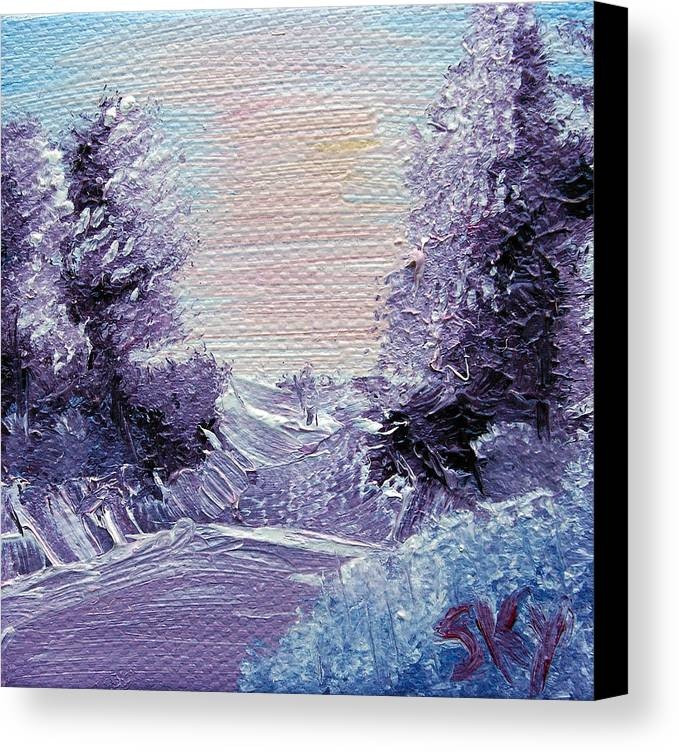 Wonderous Canvas Print featuring the painting Purple Majesty Landscape by Jera Sky