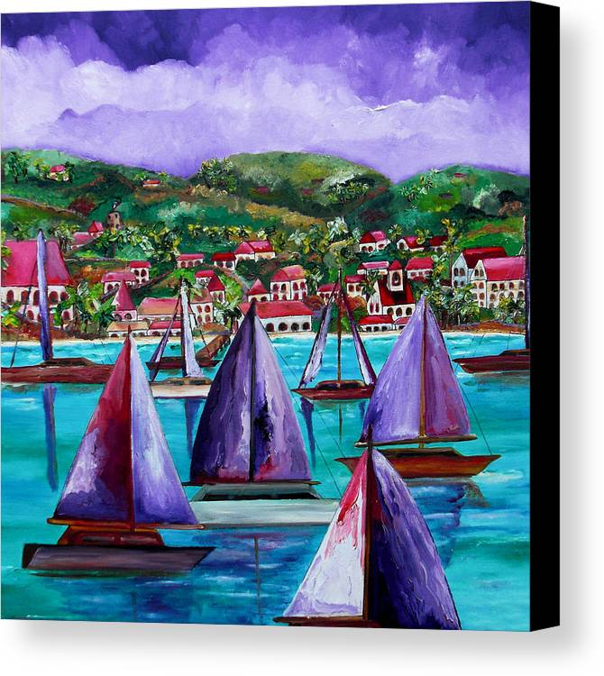 Usvi Canvas Print featuring the painting Purple Skies Over St. John by Patti Schermerhorn