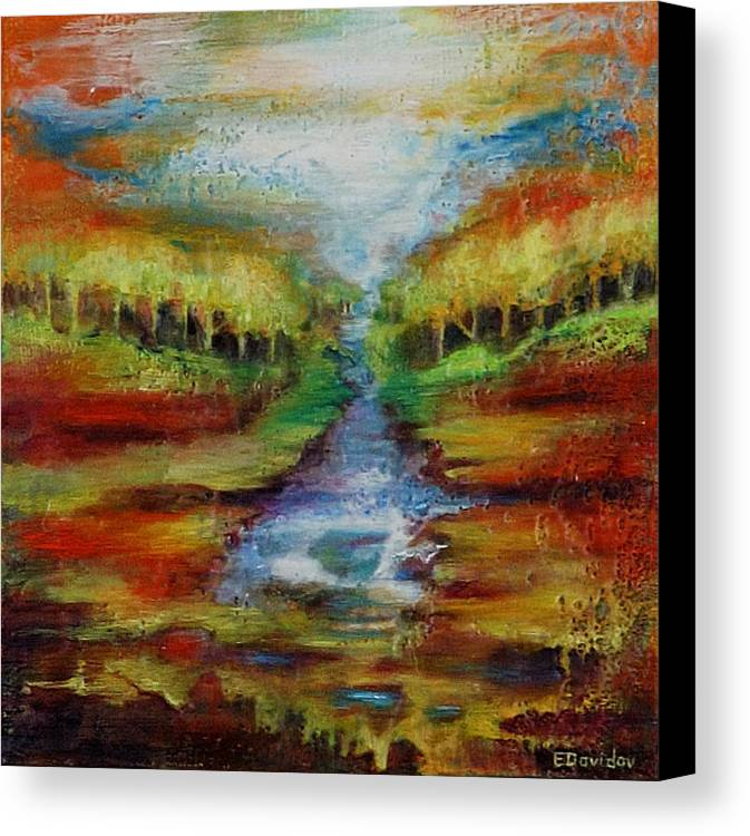 Water Canvas Print featuring the painting Red Country No 1. by Evgenia Davidov