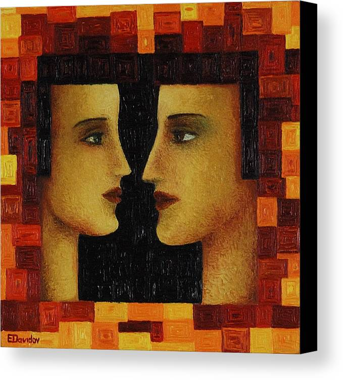 Image Canvas Print featuring the painting Red Duet. by Evgenia Davidov