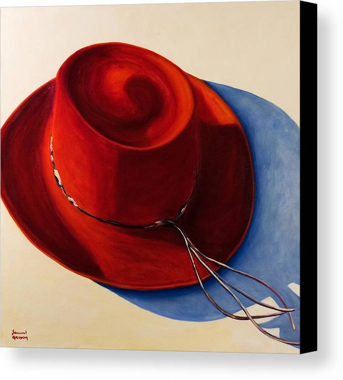 Red Hat Canvas Print featuring the painting Red Hat by Shannon Grissom