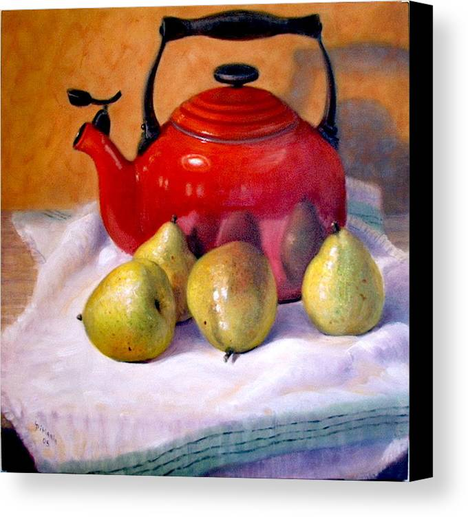 Realism Canvas Print featuring the painting Red Teapot And Pears by Donelli DiMaria