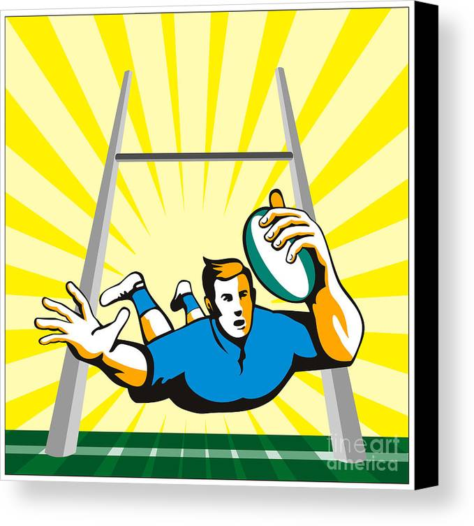 Rugby Canvas Print featuring the digital art Rugby Player Try by Aloysius Patrimonio