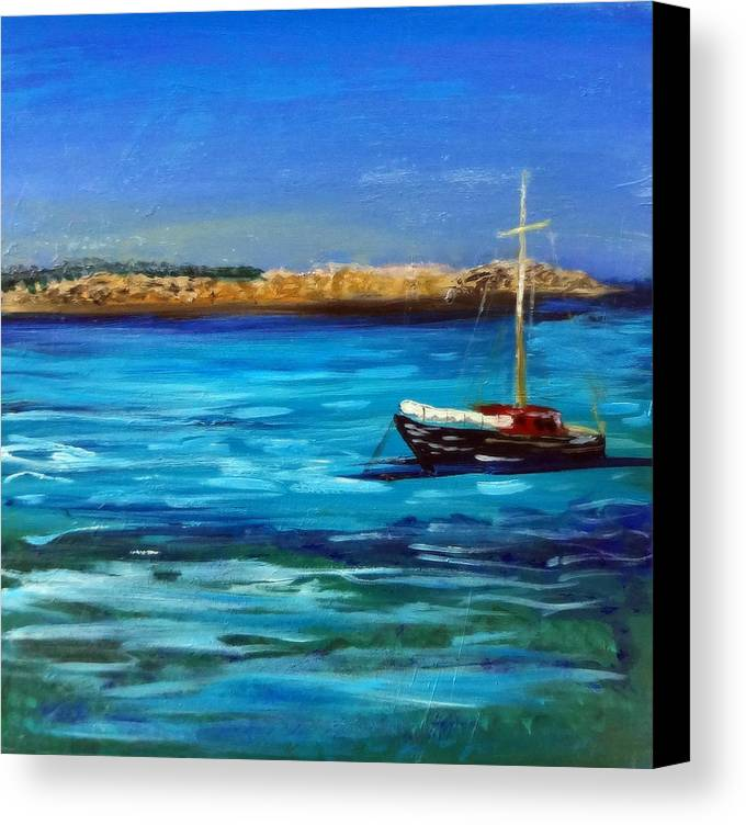 Seascape Canvas Print featuring the painting Sailboat Off Karpathos Greece Greek Islands Sailing by Katy Hawk