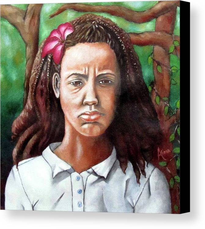 Portrait Canvas Print featuring the painting Salty Girl by Alima Newton