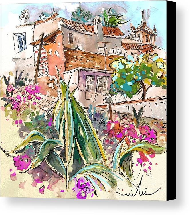Portugal Paintings Canvas Print featuring the painting Serpa Portugal 24 by Miki De Goodaboom