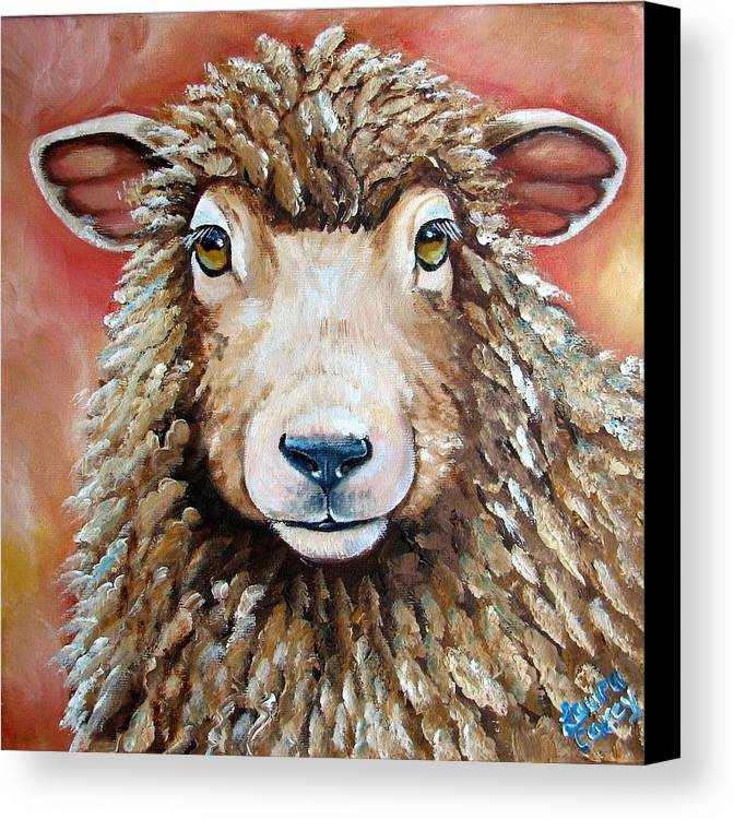 Sheep Canvas Print featuring the painting Shelby by Laura Carey