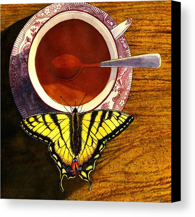 Butterfly Canvas Print featuring the painting Sippin by Catherine G McElroy