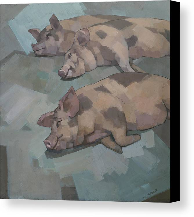 Pigs Canvas Print featuring the painting Sleeping Pigs by Steve Mitchell