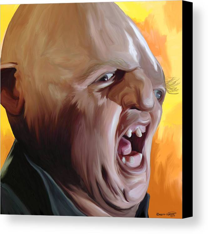 Sloth Goonies Chunk Baby Ruth Hey You Guys Deformed Goondocks Movie 80\'s Pop Art Painting Yelling Screaming  Canvas Print featuring the painting Sloth From Goonies by Brett Hardin