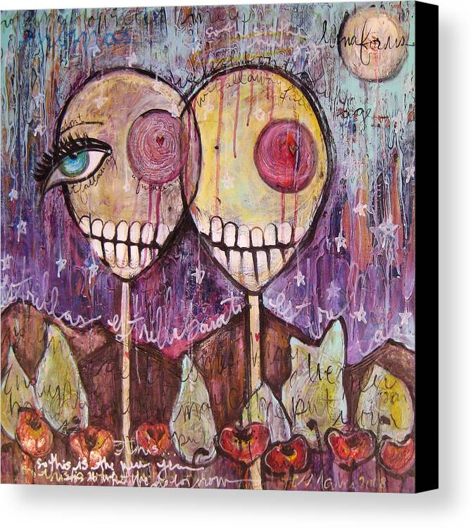 Skulls Canvas Print featuring the painting So This Is The New Year Estrellas And All by Laurie Maves ART