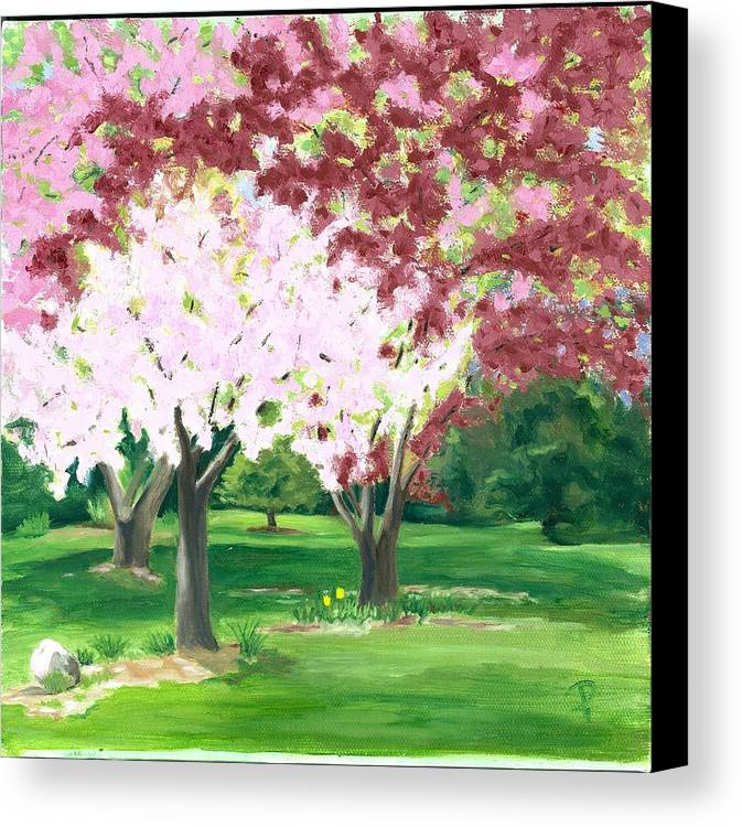 Spring Canvas Print featuring the painting Spring At Osage Land Trust by Paula Emery