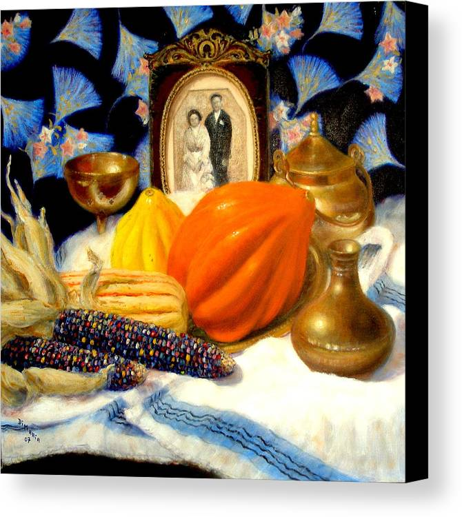 Realism Canvas Print featuring the painting Thanksgiving Of The Past by Donelli DiMaria