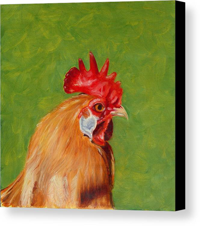 Rooster Canvas Print featuring the painting The Gladiator by Paula Emery