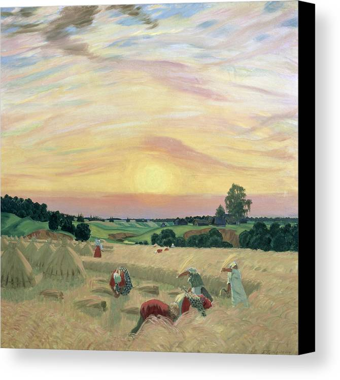 The Harvest Canvas Print featuring the painting The Harvest by Boris Mikhailovich Kustodiev