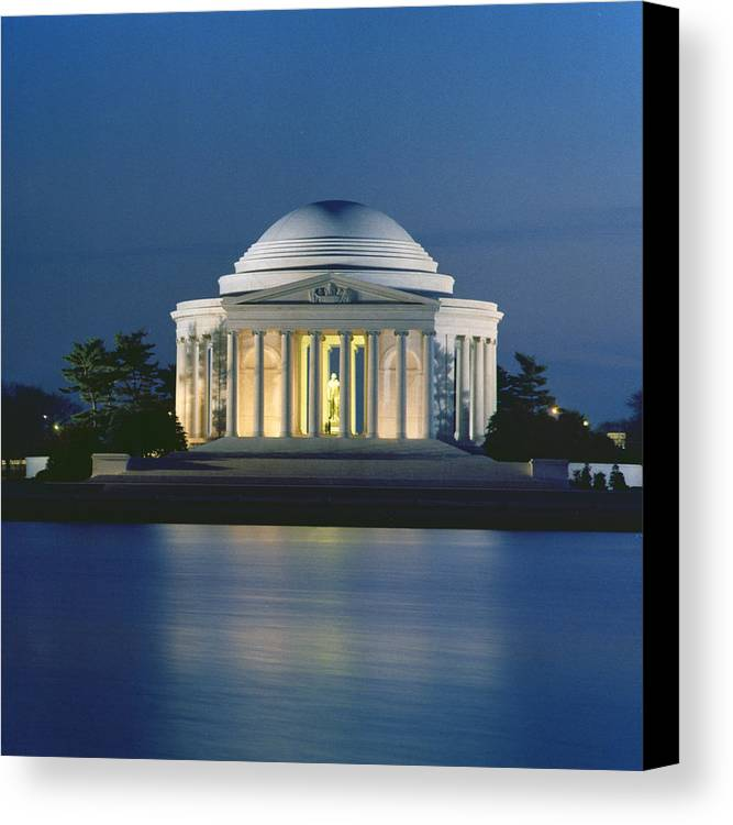 Monument; Saucer Dome; Portico; Columns; Architecture; Architectural; West Potomac Park; Evening; Dusk; Nighttime; Statue; River; Riverbank; Reflection; Nocturne; 3rd; American; Architecture; Neo-classical Canvas Print featuring the photograph The Jefferson Memorial by Peter Newark American Pictures