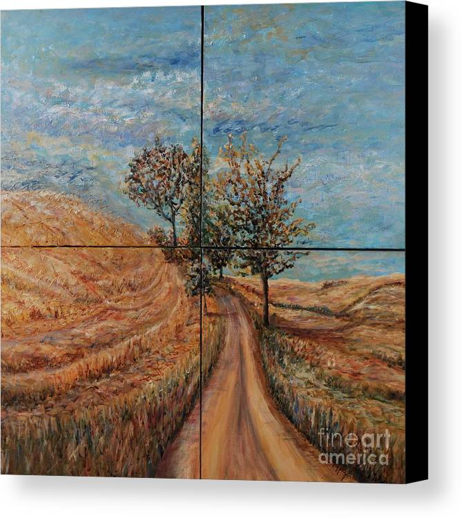 Landscape Canvas Print featuring the painting Tuscan Journey by Nadine Rippelmeyer