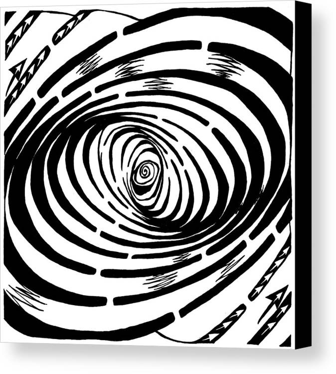Wave Canvas Print featuring the drawing Wave Swirl Maze by Yonatan Frimer Maze Artist