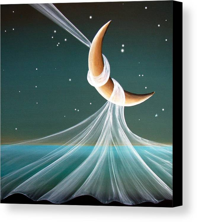 Moon Canvas Print featuring the painting When The Wind Blows by Cindy Thornton